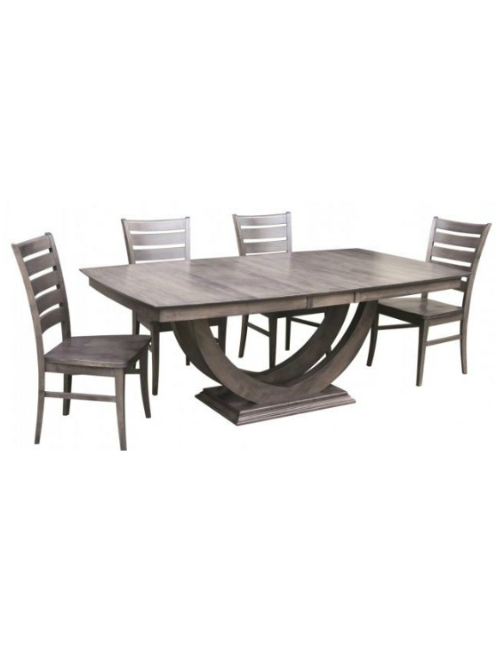 Galley Single Trestle Dining Table With Leaf Extensions